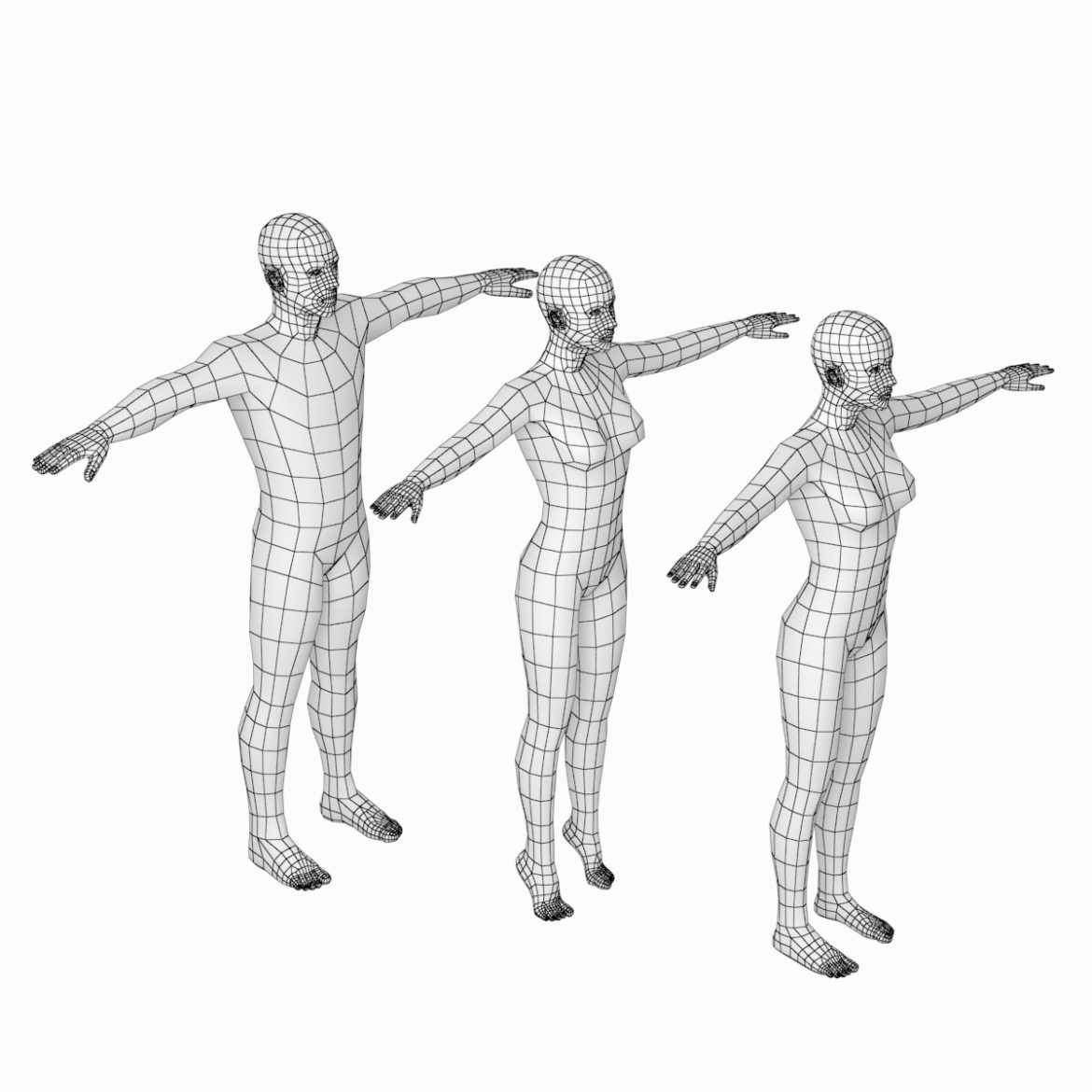 male and female base mesh in t-pose 3d model png stl obj ma mb max fbx dxf dwg dae c4d 3ds txt 305178