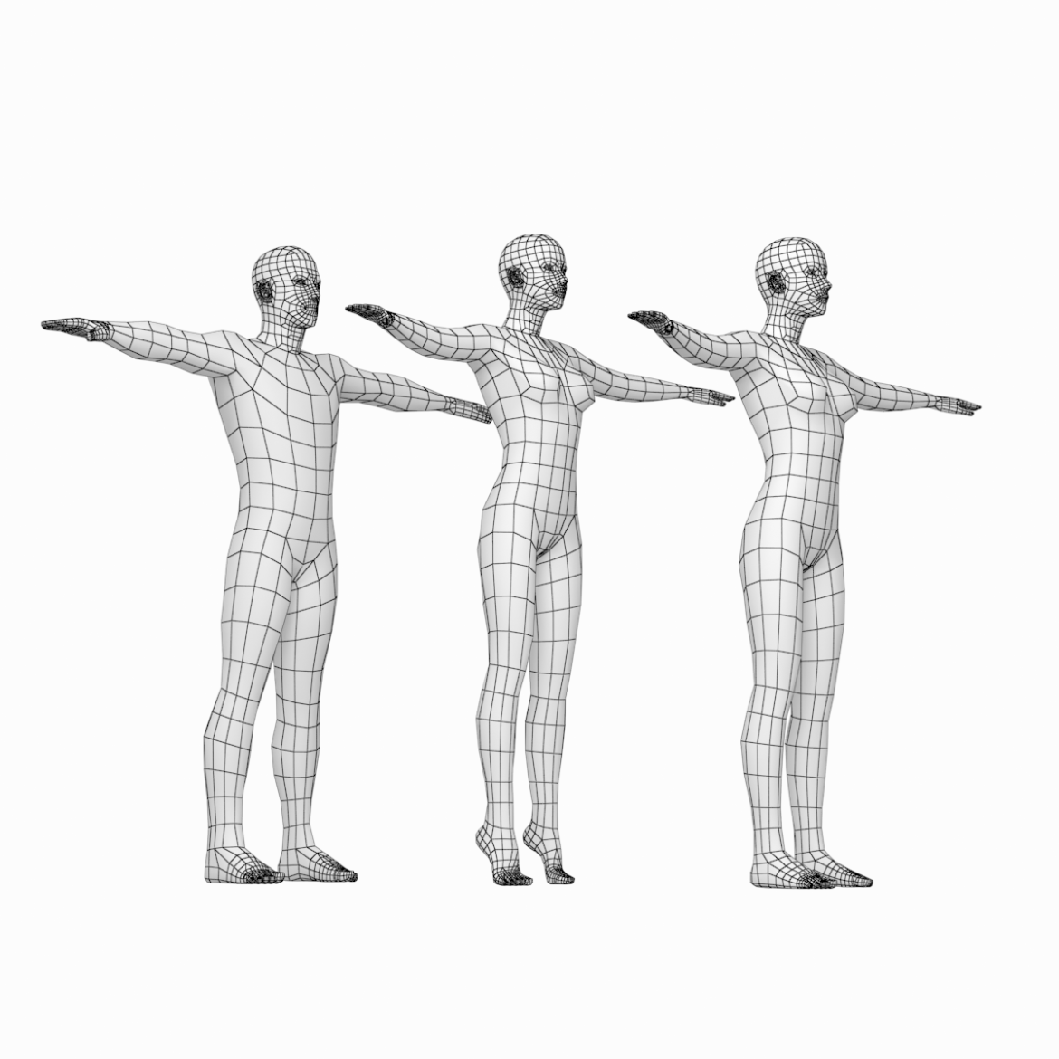 male and female base mesh in t-pose 3d model png stl obj ma mb max fbx dxf dwg dae c4d 3ds txt 305179