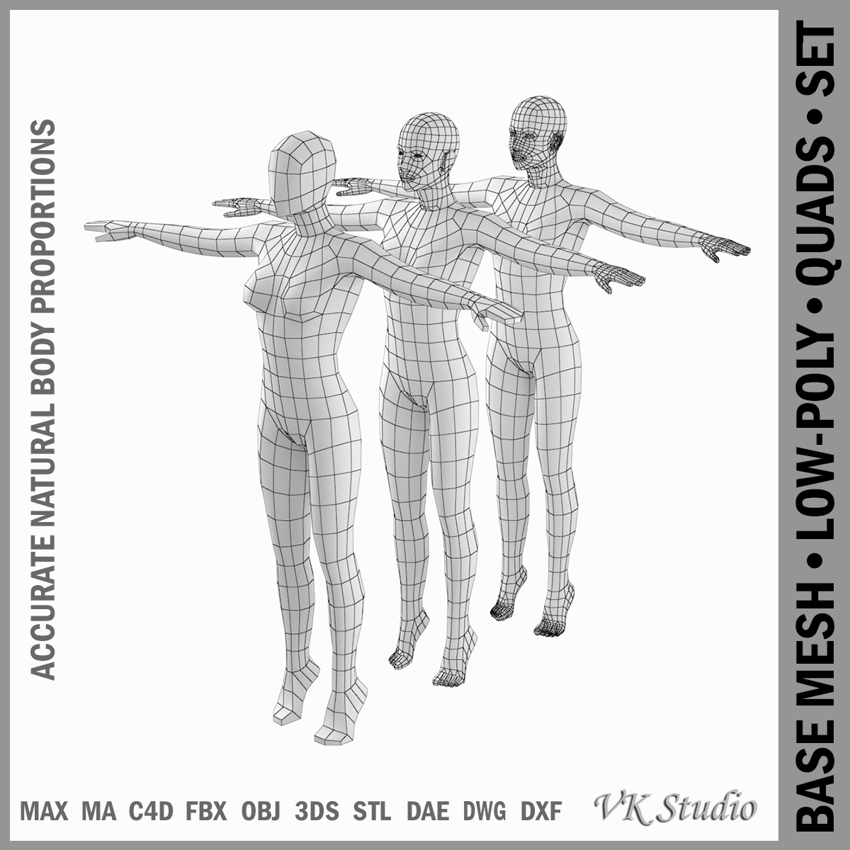 Female Body on Toes Base Mesh in T-Pose