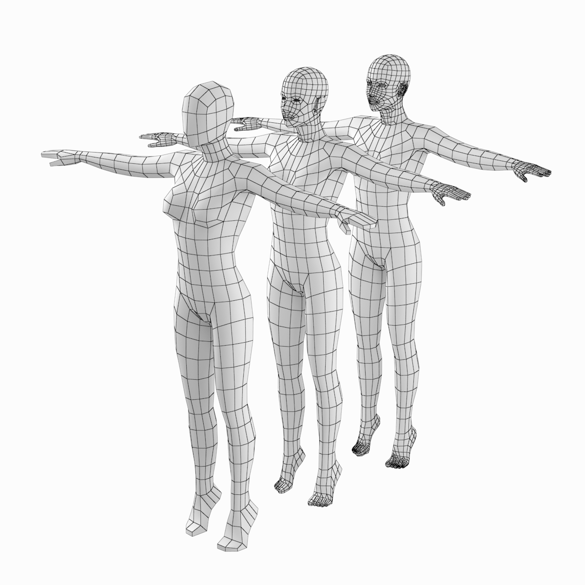 Female Body On Toes Base Mesh In T Pose
