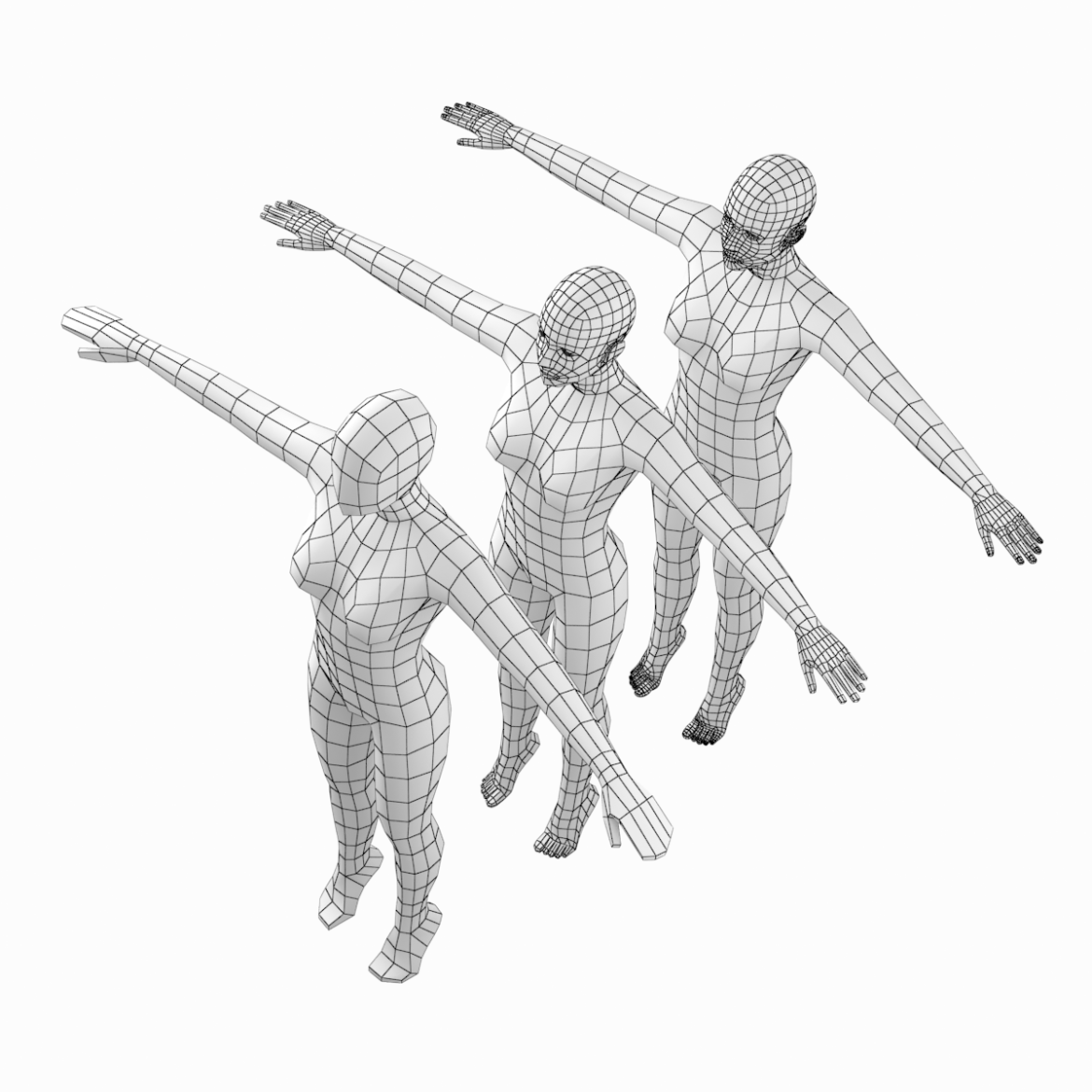 female body on toes base mesh in t-pose 3d model txt 3ds c4d dae dwg dxf fbx max ma mb obj stl png 305201