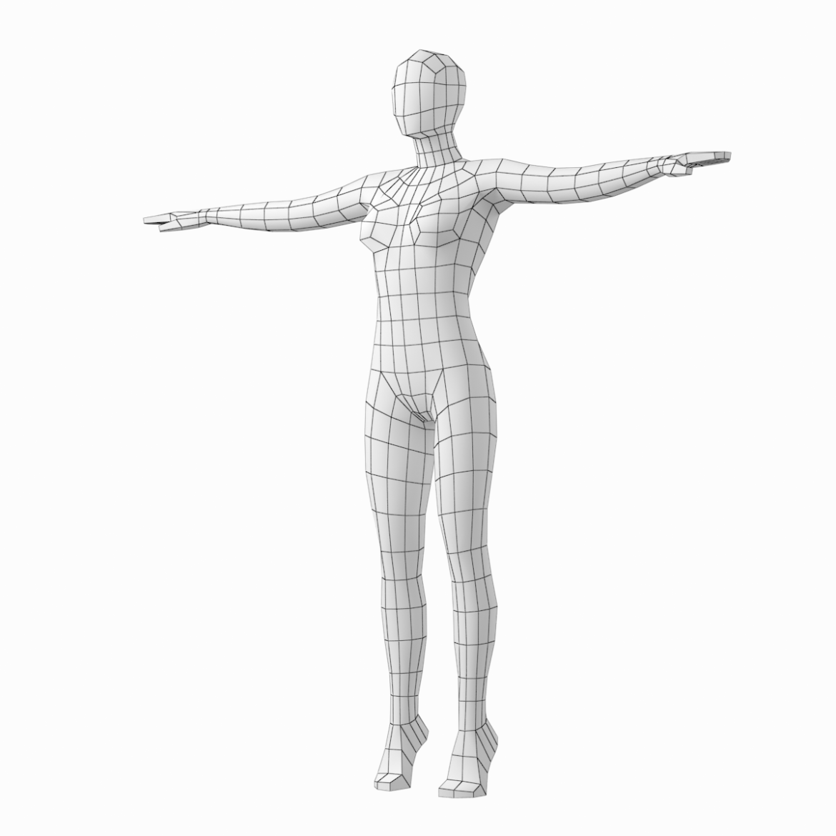 female body on toes base mesh in t-pose 3d model txt 3ds c4d dae dwg dxf fbx max ma mb obj stl png 305206