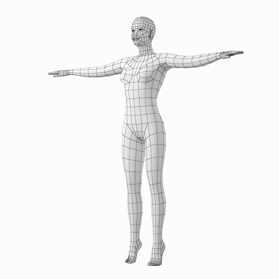 female body on toes base mesh in t-pose 3d model txt 3ds c4d dae dwg dxf fbx max ma mb obj stl png 305207