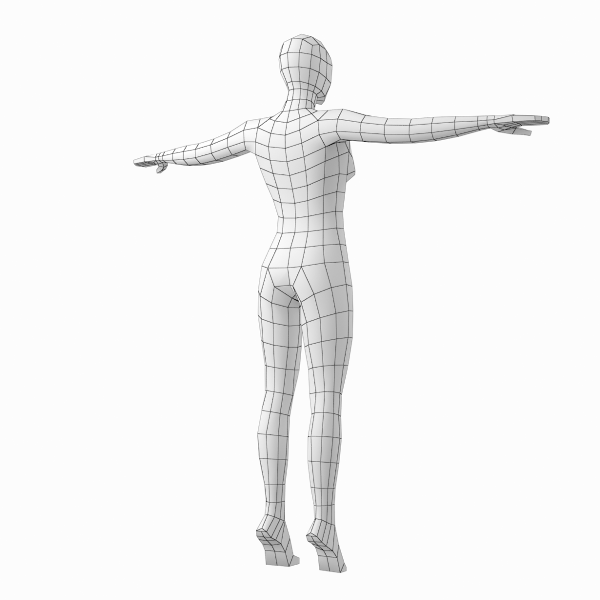 female body on toes base mesh in t-pose 3d model txt 3ds c4d dae dwg dxf fbx max ma mb obj stl png 305209