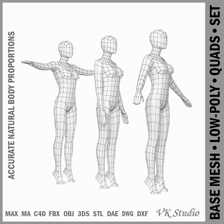 female base mesh in 3 modeling poses 3d model txt 3ds c4d dae dwg dxf fbx max ma mb obj stl png 305301