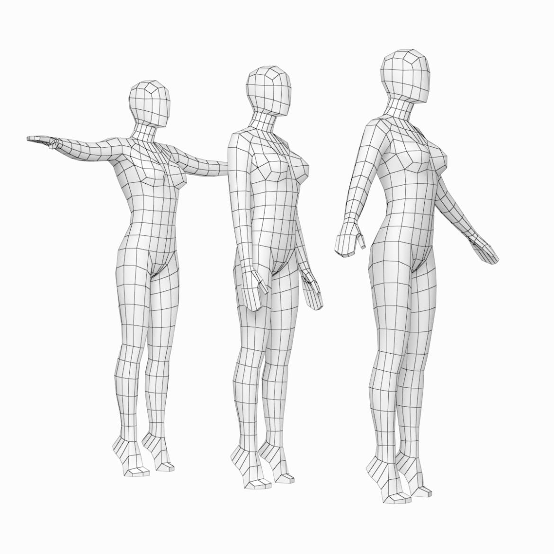 female base mesh in 3 modeling poses 3d model txt 3ds c4d dae dwg dxf fbx max ma mb obj stl png 305302