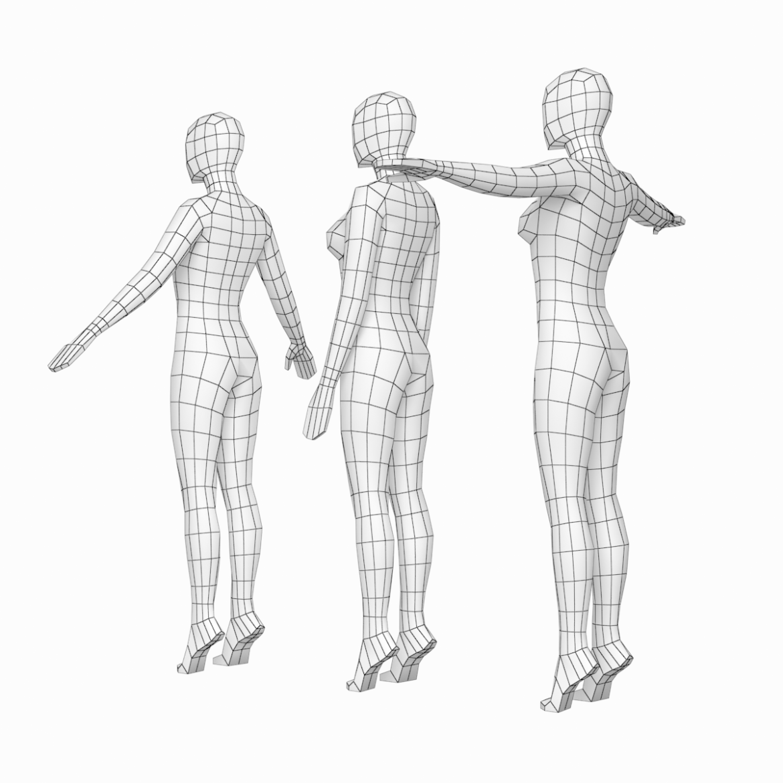 female base mesh in 3 modeling poses 3d model txt 3ds c4d dae dwg dxf fbx max ma mb obj stl png 305303