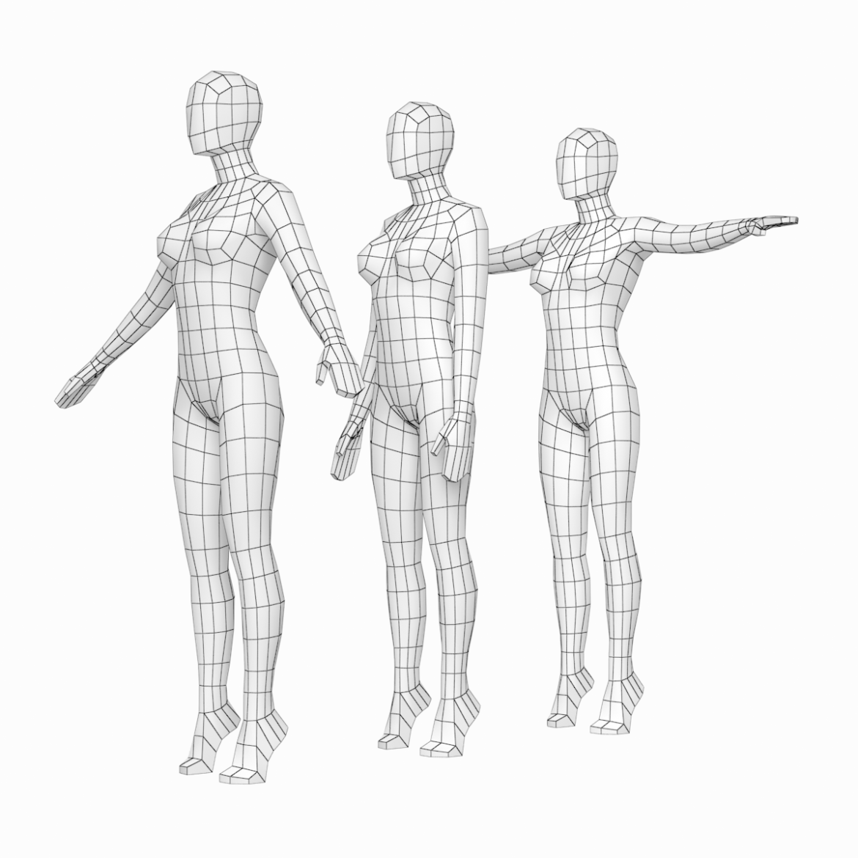 female base mesh in 3 modeling poses 3d model txt 3ds c4d dae dwg dxf fbx max ma mb obj stl png 305304