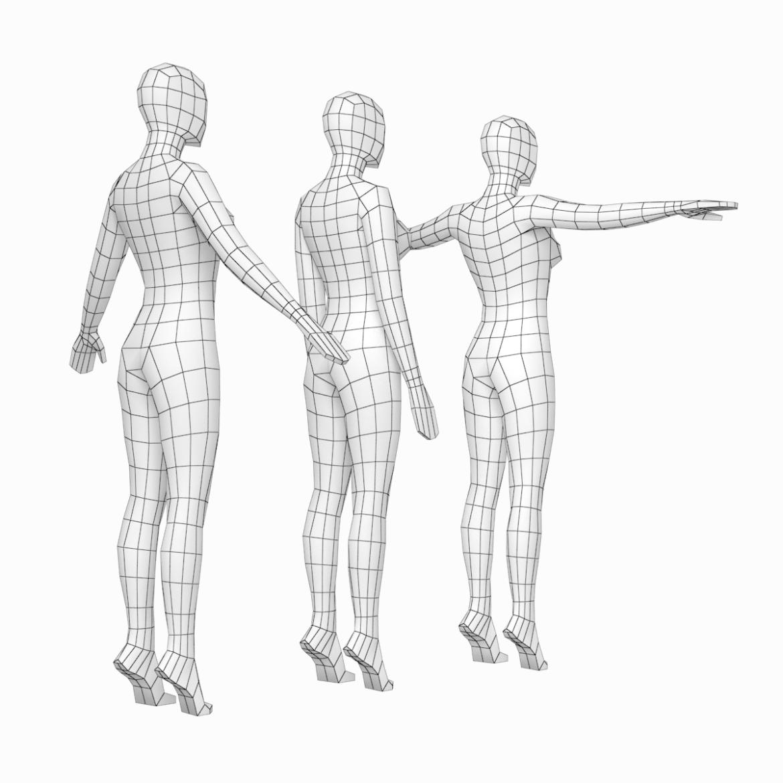 female base mesh in 3 modeling poses 3d model txt 3ds c4d dae dwg dxf fbx max ma mb obj stl png 305305