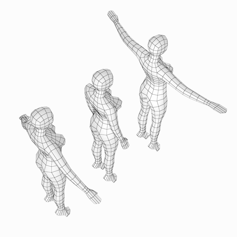 female base mesh in 3 modeling poses 3d model txt 3ds c4d dae dwg dxf fbx max ma mb obj stl png 305307