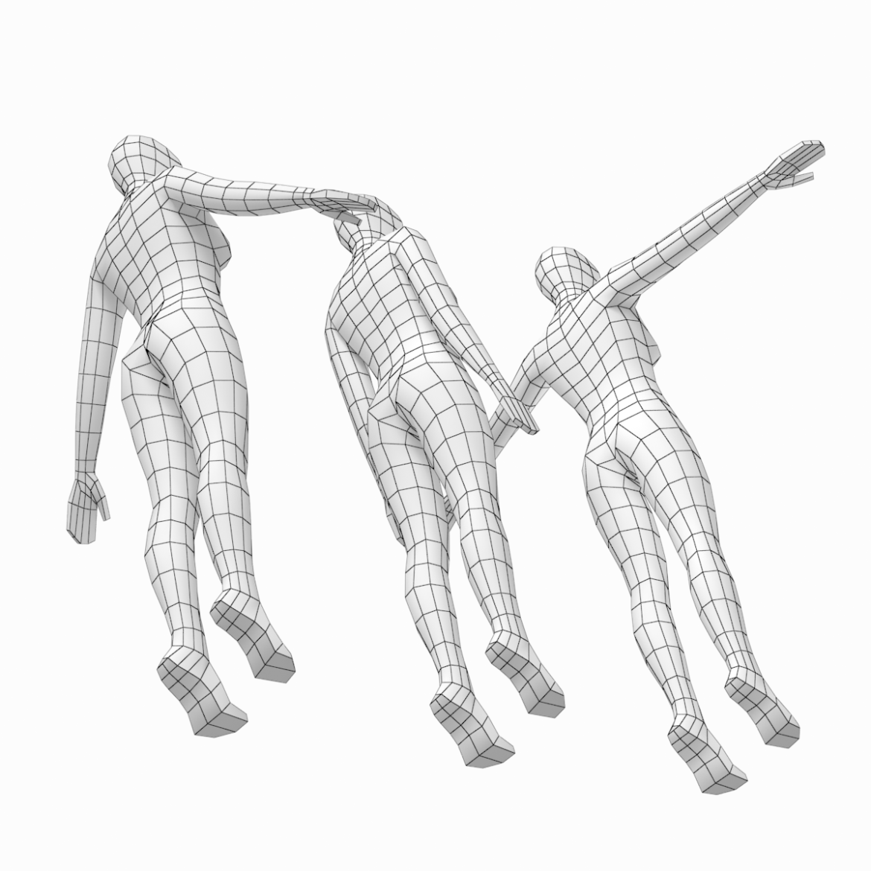 female base mesh in 3 modeling poses 3d model txt 3ds c4d dae dwg dxf fbx max ma mb obj stl png 305309