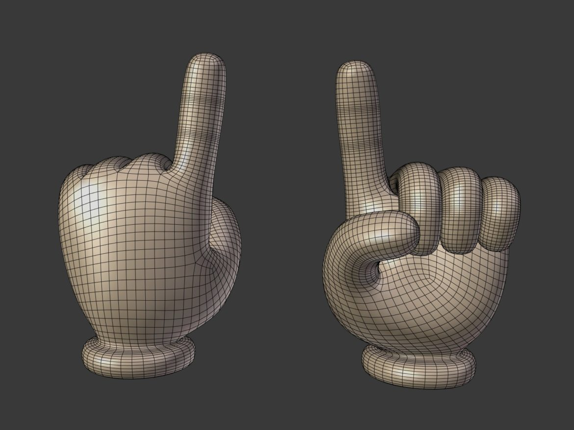 cartoon hand – direction sign 3d model obj fbx blend 305452