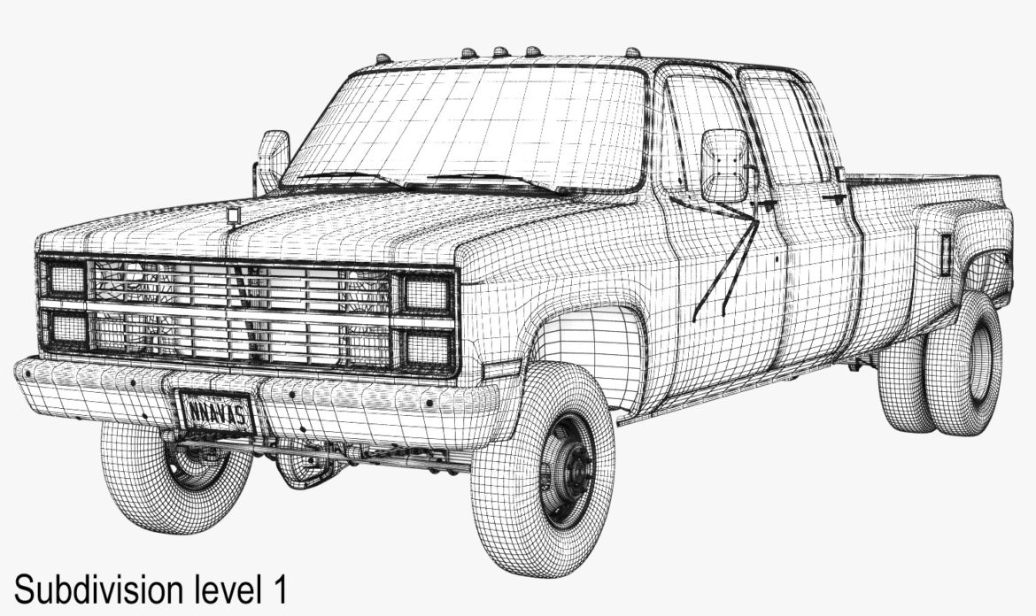generic 4wd dually pickup truck 6 3d model 3ds max fbx blend obj 305497