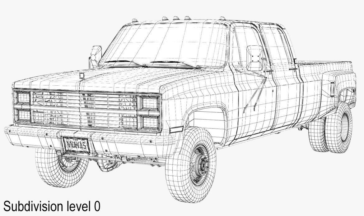 generic 4wd dually pickup truck 6 3d model 3ds max fbx blend obj 305498