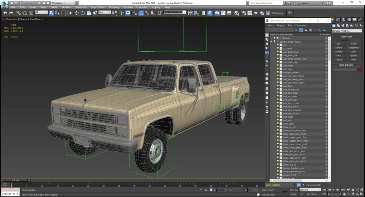generic 4wd dually pickup truck 6 3d model 3ds max fbx blend obj 305501