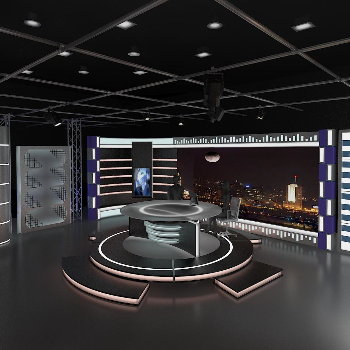 virtual tv studio news set 6 3d model 3ds c4d dxf fbx max obj 305592