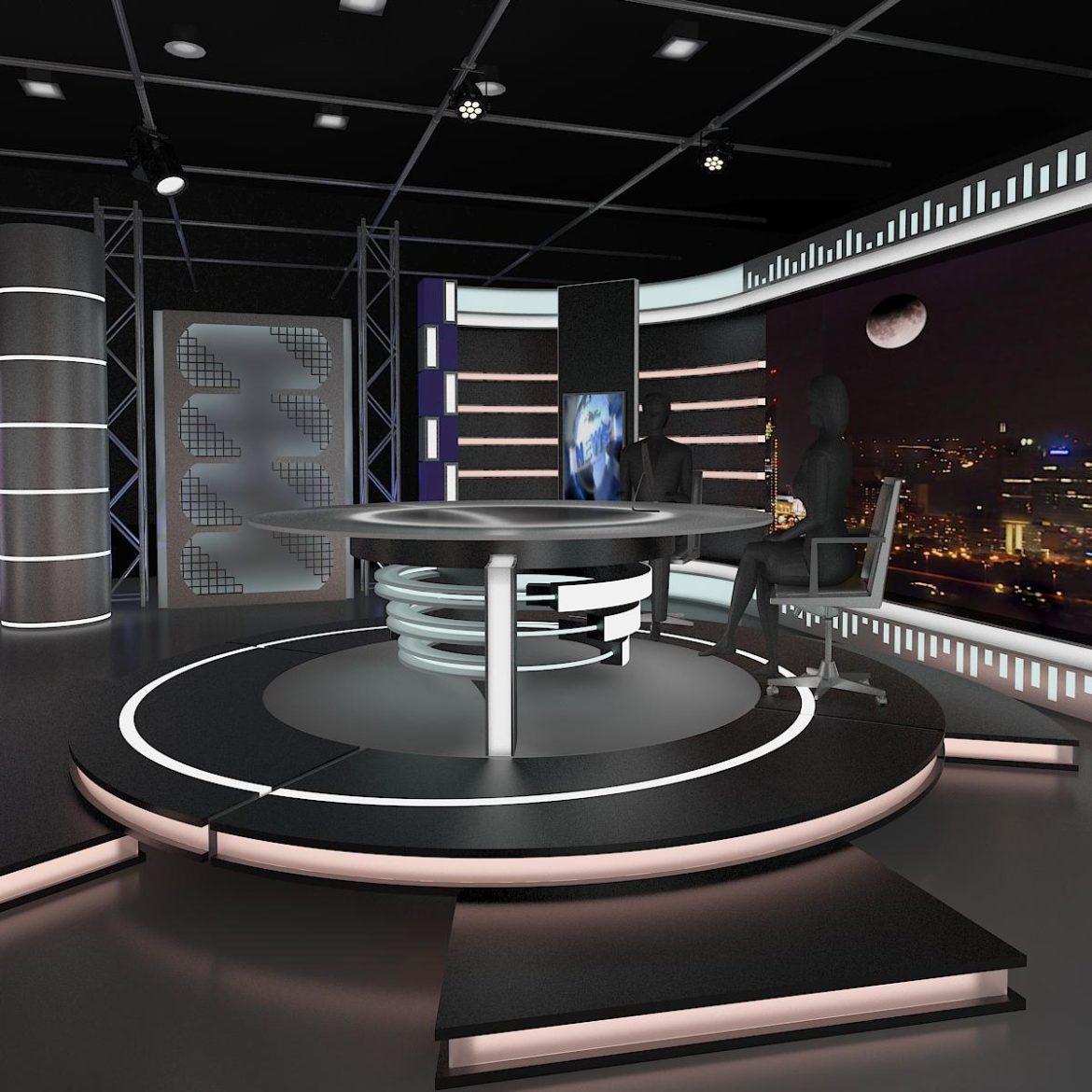 virtual tv studio news set 6 3d model 3ds c4d dxf fbx max obj 305594