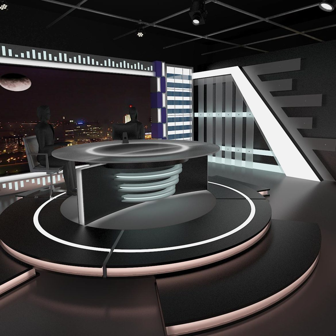 virtual tv studio news set 6 3d model 3ds c4d dxf fbx max obj 305598