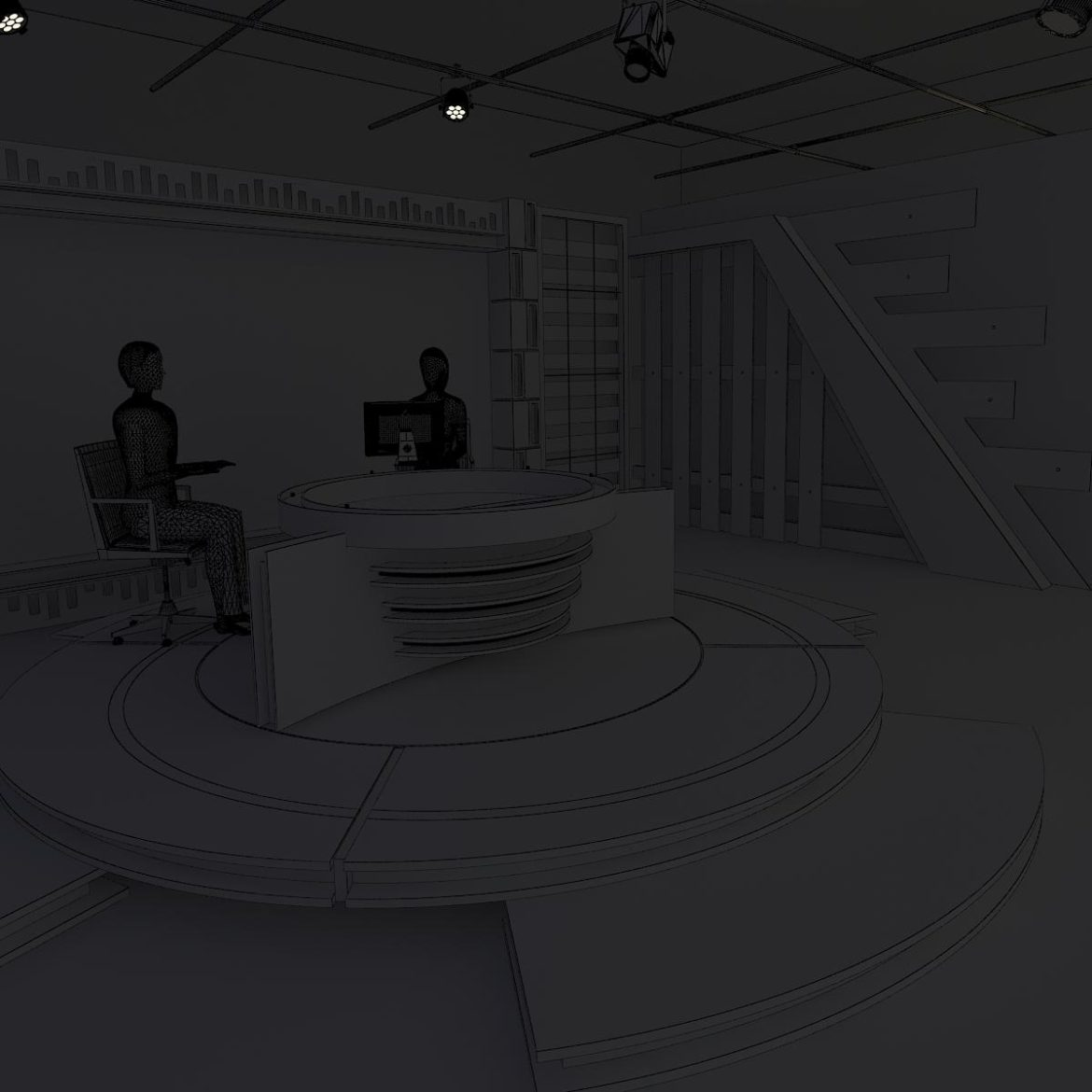 virtual tv studio news set 6 3d model 3ds c4d dxf fbx max obj 305599
