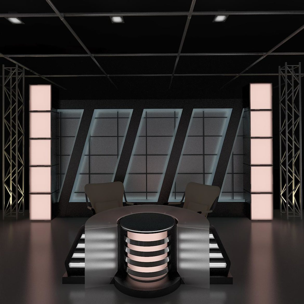 virtual tv studio news set 6 3d model 3ds c4d dxf fbx max obj 305608
