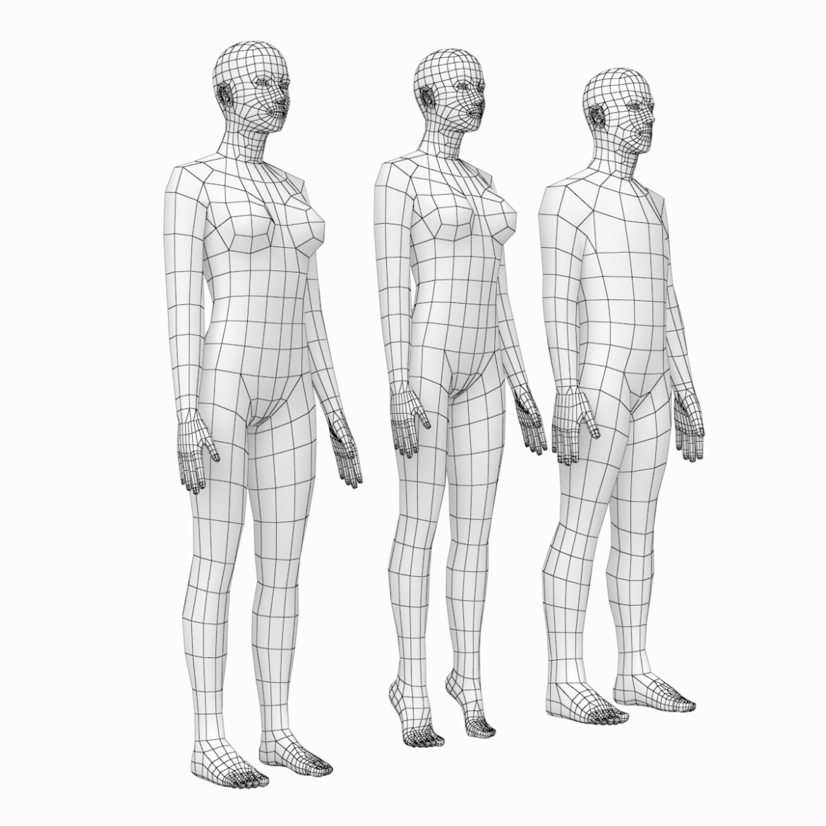 female and male base mesh in rest pose 3d model png c4d dae dwg dxf fbx max ma mb obj stl txt 305799