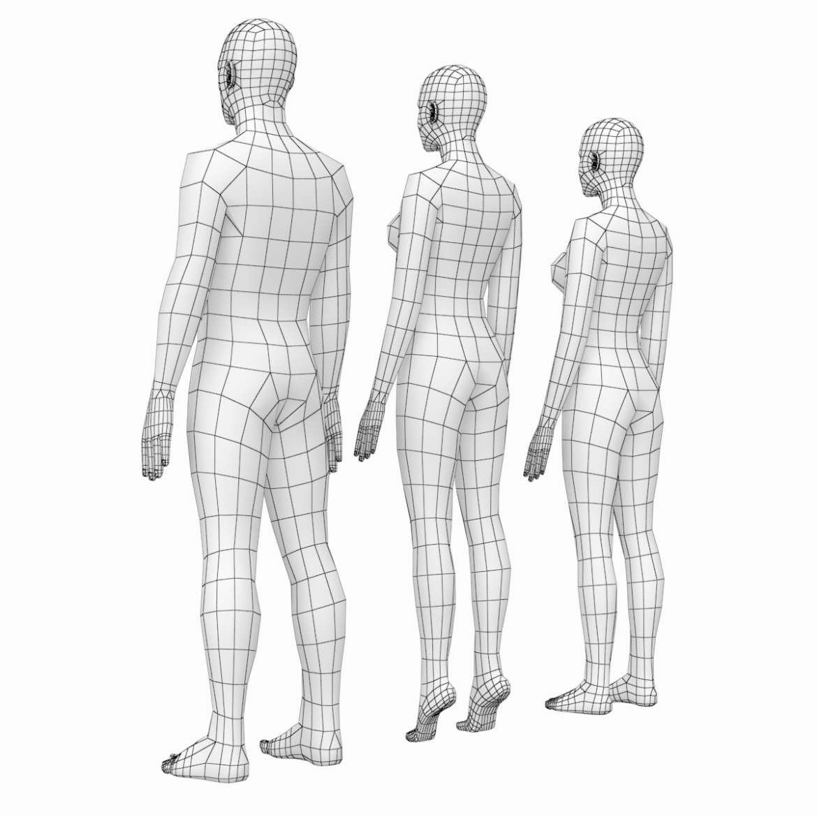 female and male base mesh in rest pose 3d model png c4d dae dwg dxf fbx max ma mb obj stl txt 305800
