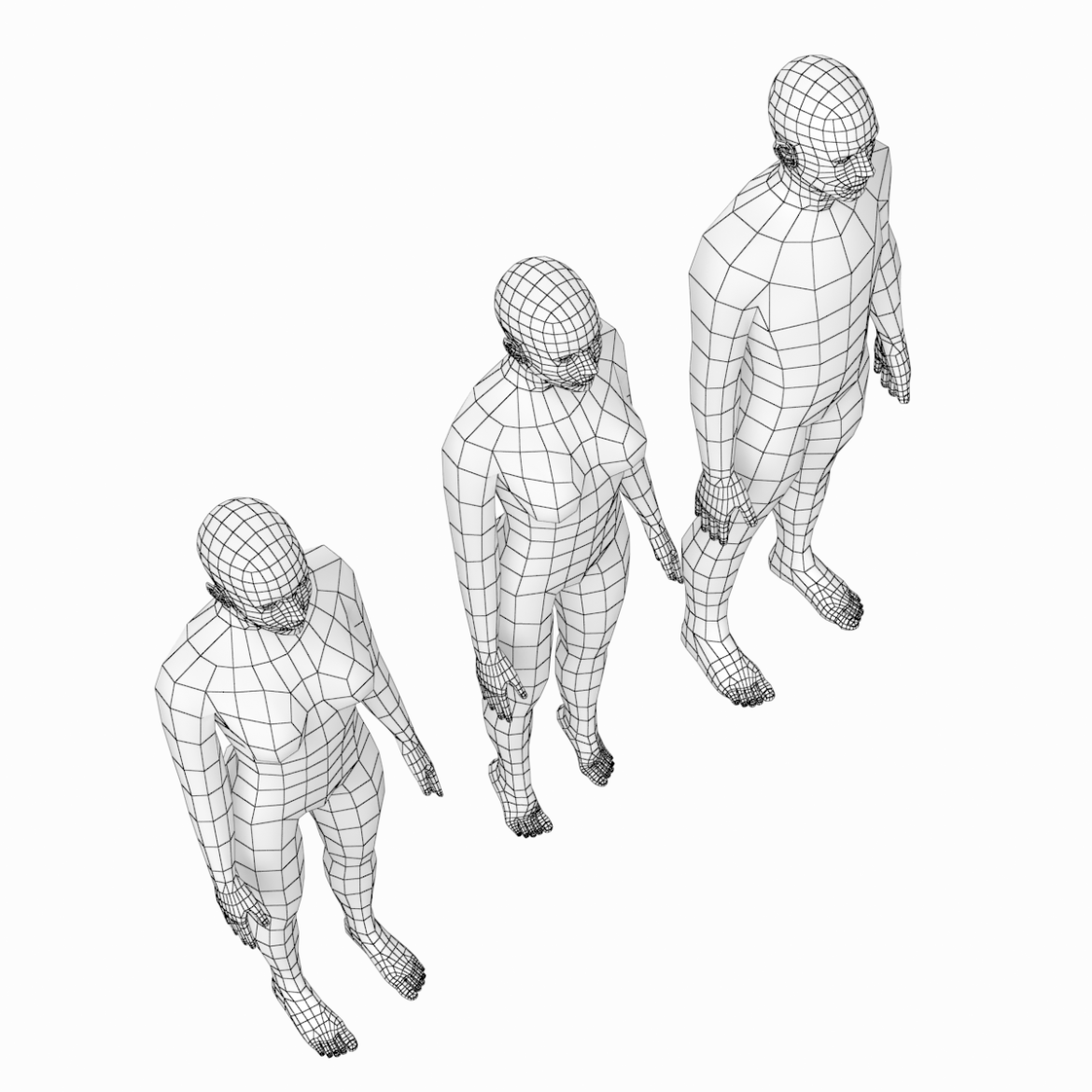 female and male base mesh in rest pose 3d model png c4d dae dwg dxf fbx max ma mb obj stl txt 305801