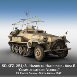 sdkfz 251 ausf.b – communications vehicle – 15pd 3d model 3ds fbx lwo lw lws obj c4d 305985