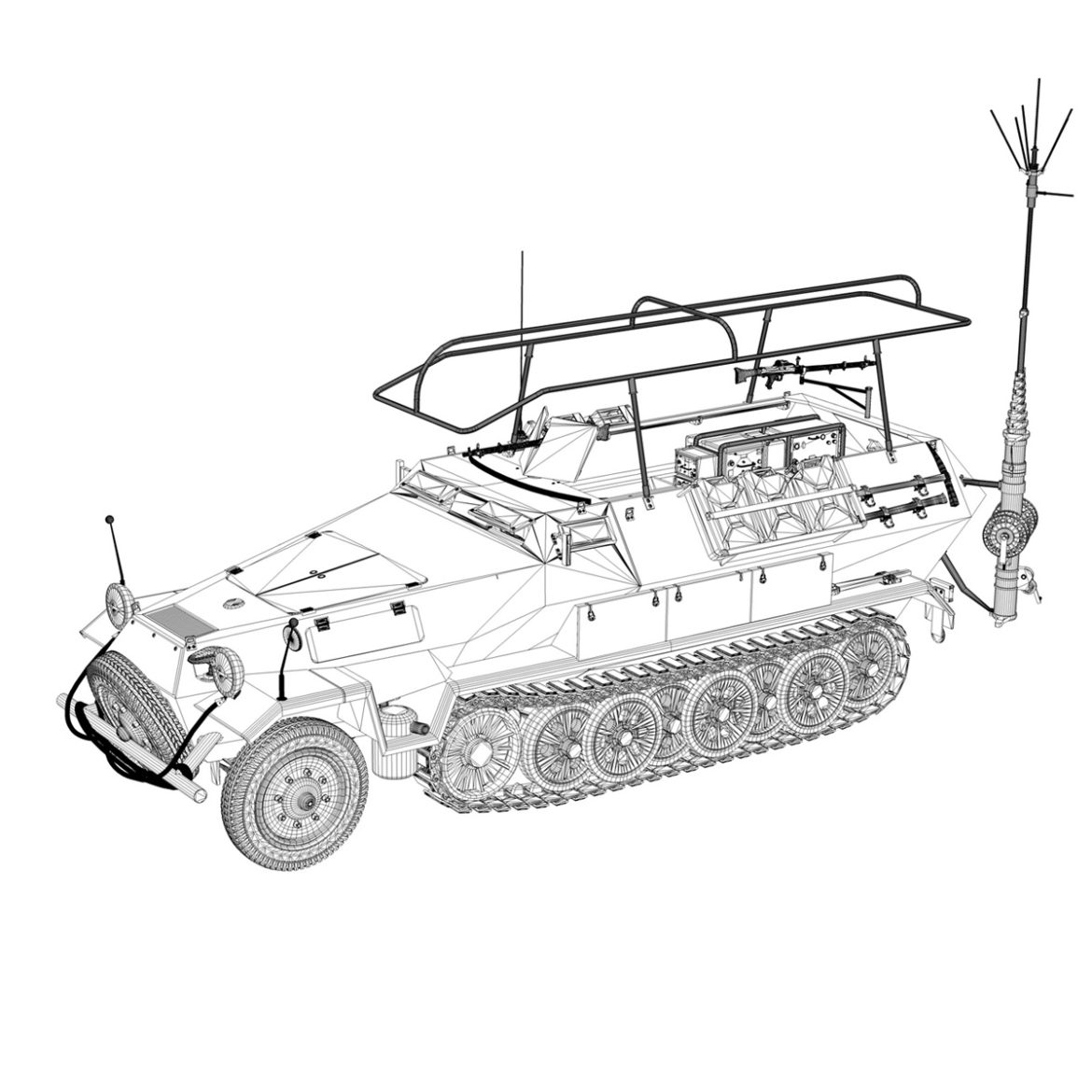 sdkfz 251 ausf.b – communications vehicle – 15pd 3d model 3ds fbx lwo lw lws obj c4d 305997