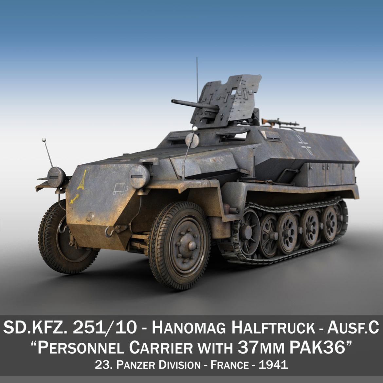 sdkfz 251 ausf.c – hanomag half-track – 23pd 3d model 3ds fbx lwo lw lws obj c4d 306004