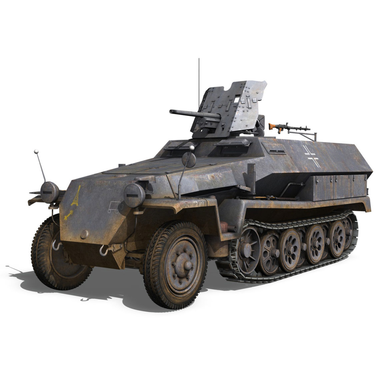 sdkfz 251 ausf.c – hanomag half-track – 23pd 3d model 3ds fbx lwo lw lws obj c4d 306005
