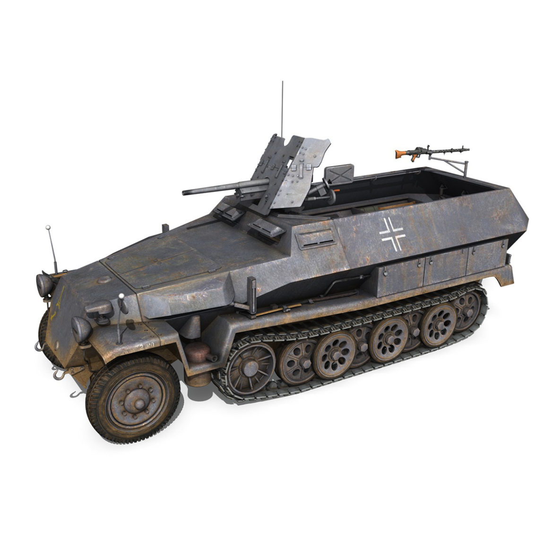 sdkfz 251 ausf.c – hanomag half-track – 23pd 3d model 3ds fbx lwo lw lws obj c4d 306006