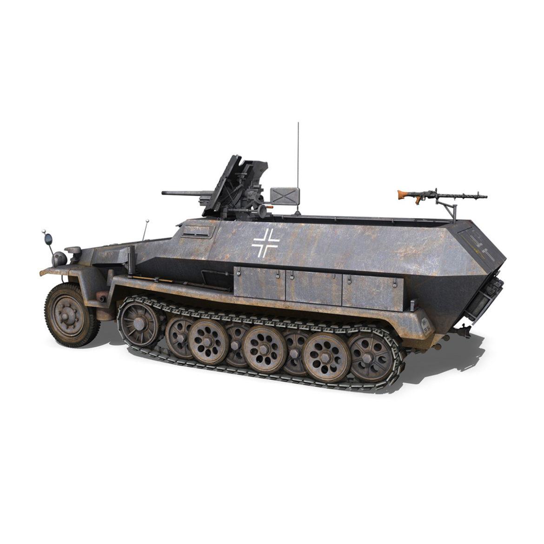 sdkfz 251 ausf.c – hanomag half-track – 23pd 3d model 3ds fbx lwo lw lws obj c4d 306007