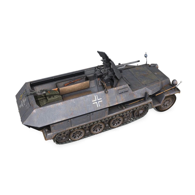 sdkfz 251 ausf.c – hanomag half-track – 23pd 3d model 3ds fbx lwo lw lws obj c4d 306010