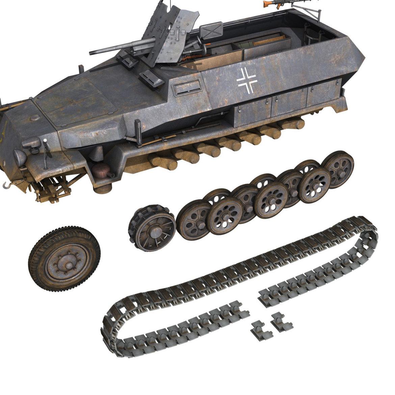 sdkfz 251 ausf.c – hanomag half-track – 23pd 3d model 3ds fbx lwo lw lws obj c4d 306015