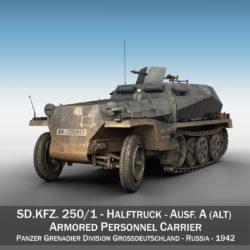 sdkfz 250 - halftruck gyda spzb 41 - pzgrendiv model 3d 3ds c4d fbx lwo lw lw obj