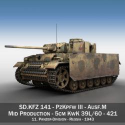 pzkpfw iii - panzer 3 - ausf.m - 421 3d model 3ds lwo lw lws obj c4d 306065