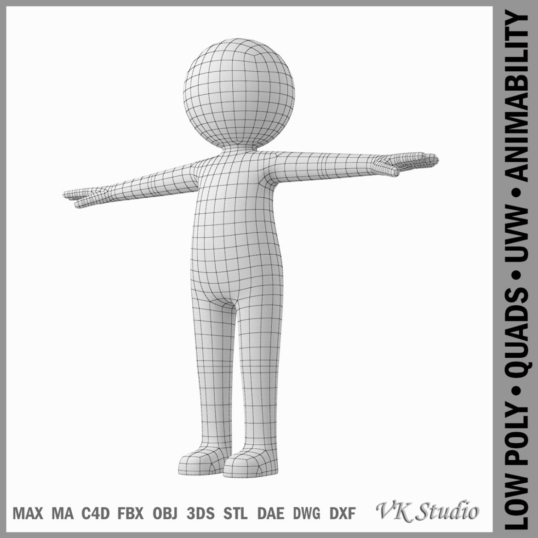 pieaugušais stilizēts stickman in t-pose 3d modelis txt png 3ds max c4d de dwf dxf fbx ma mb obj stl 306202