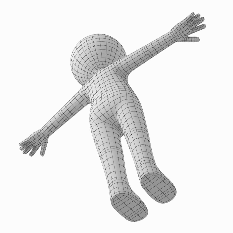 pieaugušais stilizēts stickman in t-pose 3d modelis txt png 3ds max c4d de dwf dxf fbx ma mb obj stl 306220