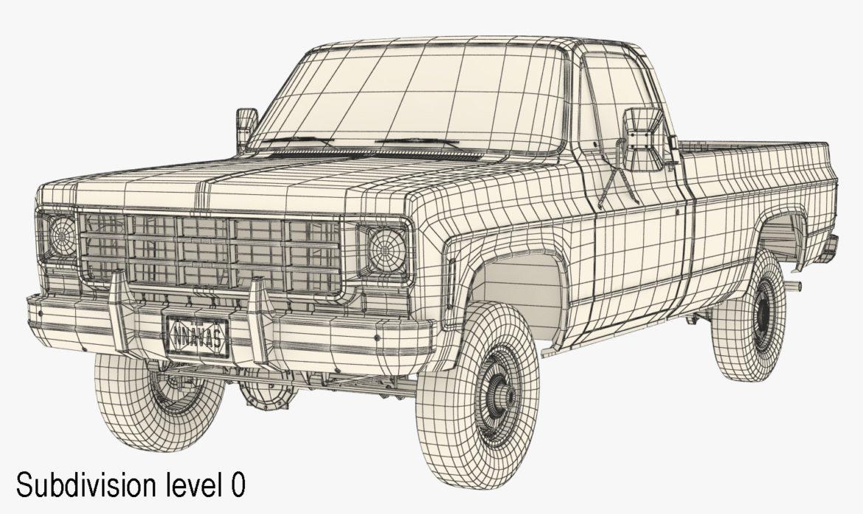 generic 4wd pickup truck 7 3d model 3ds max fbx obj 307091