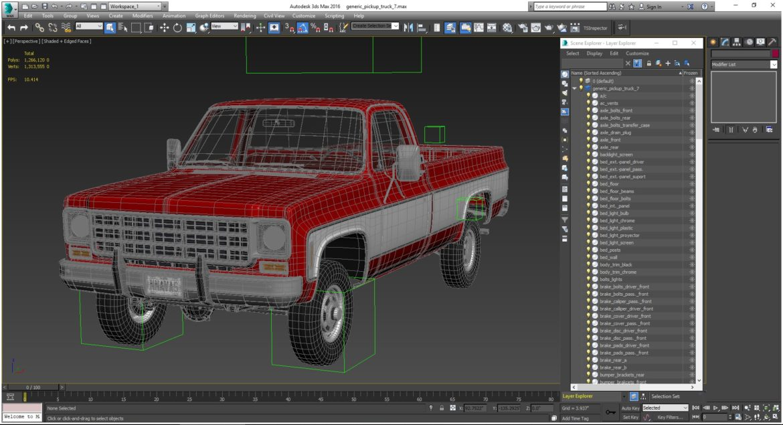 generic 4wd pickup truck 7 3d model 3ds max fbx obj 307095