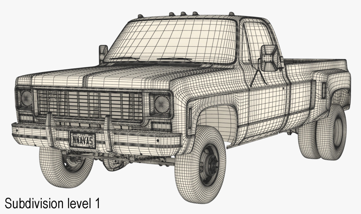 generic 4wd dually pickup truck 8 3d model 3ds max fbx obj 307119
