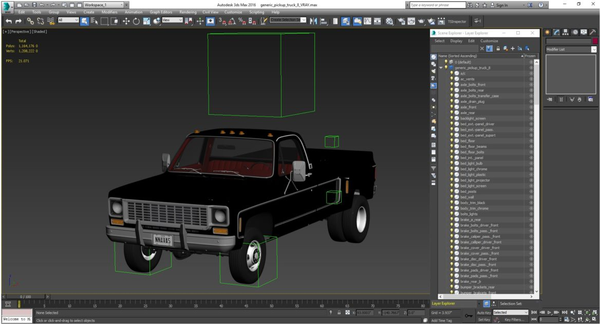 generic 4wd dually pickup truck 8 3d model 3ds max fbx obj 307122
