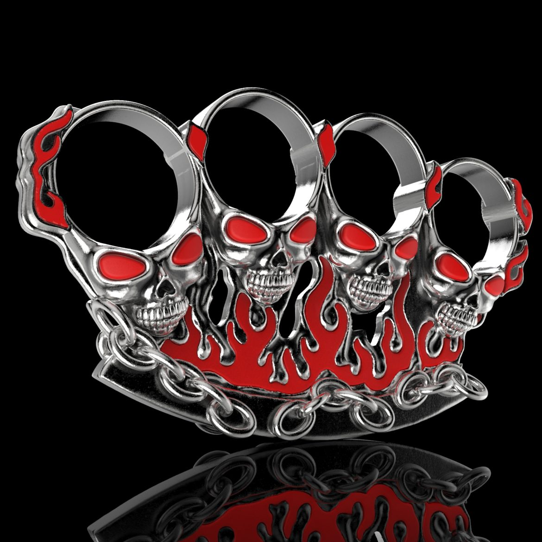 badass gothic kəllə ring cüt 3d model 3ds 307253