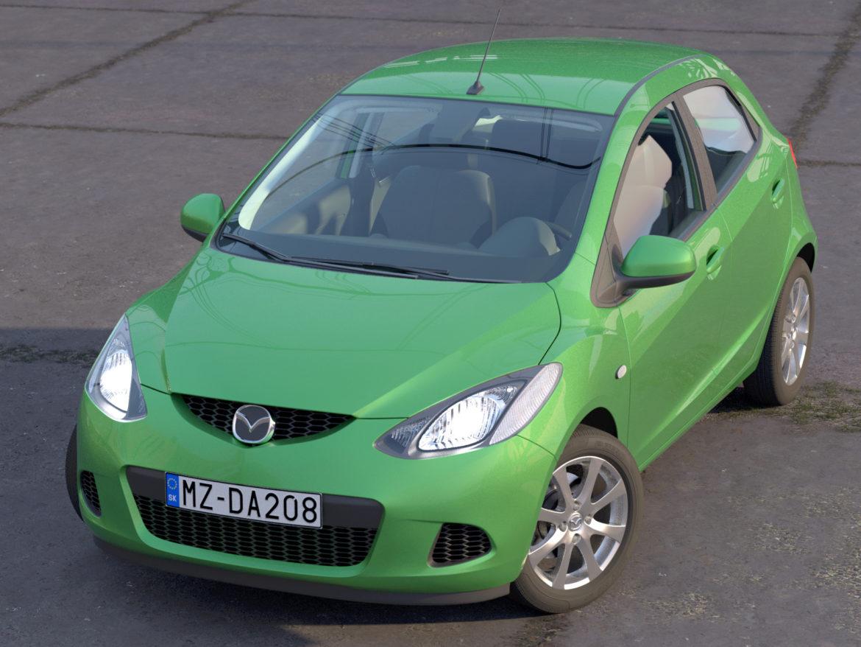 hatchback mazda 2 2008 3d gerð 3ds max fbx c4d dae obj 307357