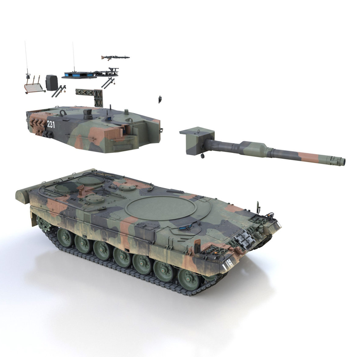 panzer 87 – swiss army 3d model 3ds c4d lwo texture obj 307519