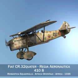 fiat cr.32 – italy airforce – 410 squadriglia 3d model fbx c4d lwo obj 307562