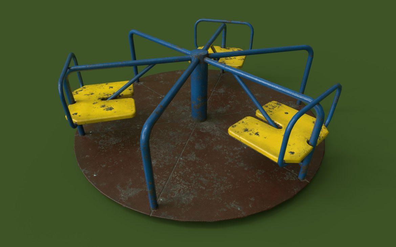 playground carousel 3d model 3ds max fbx dae  obj 308044