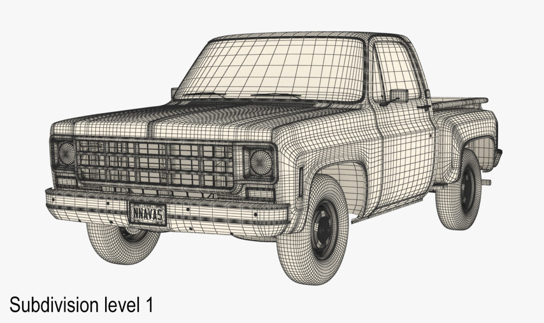 generic step side pickup truck 10 3d model 3ds max fbx obj 308202