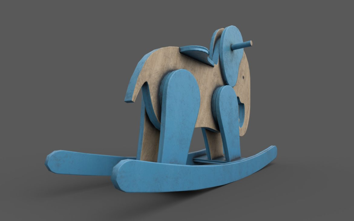 wooden elephant rocking horse 3d model 3ds max fbx dae  obj 308377